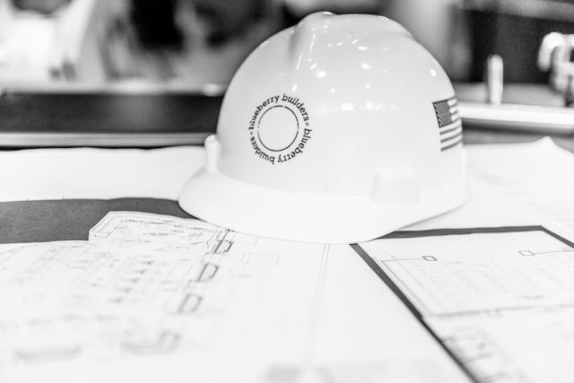 Blueberry Team hard hat. The team at Blueberry Builders is redesigning construction management, general contracting and design build services in NYC.